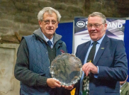 Colin MacGregor, (left), Lochearnhead, is presented with the NSA's Silver Salver by NFU Scotland president Andrew McCornick