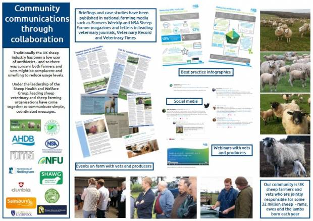 The award entry is supported by a poster summarising the Sheep Industry Group's activity.