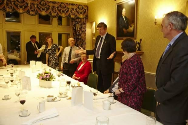 NSA Chairman John Geldard speaks at the award dinner at the Farmers Club.