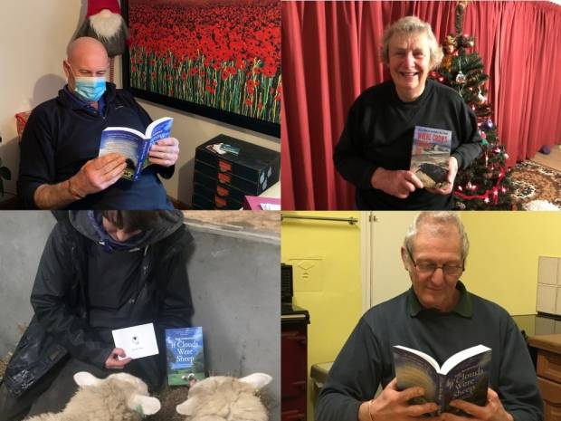 Winners of the book competition. Clockwise: John, Margaret, Tony, and Tina
