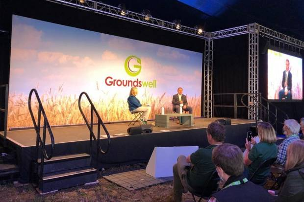 The Environment Secretary speaks at the Groundswell Agriculture Show. Image: Defra