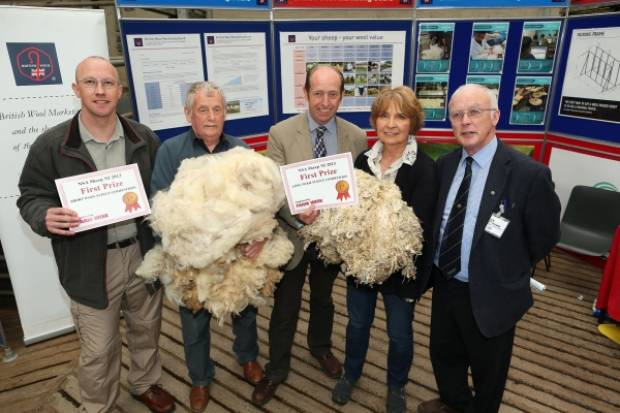 NSA NI Chairman Maurice McHenry (right) with the fleece competition winners.