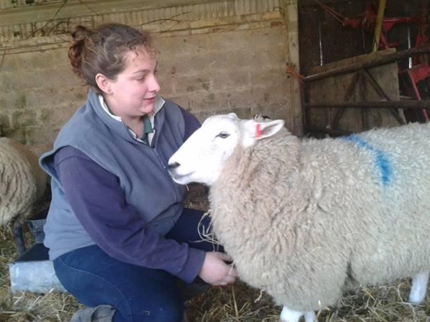 Rachel with one of her flock.