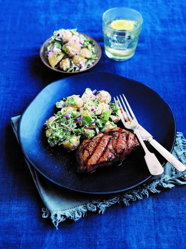 Minty Lamb Leg Steaks with Potato and Watercress Salad