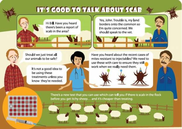 To view the Moredun sheep scab booklet, for a visual guide to controlling sheep scab, click on the link provided.