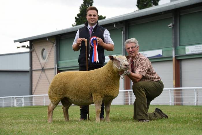 Charles Marwood with the champion Charollais ram which later sold for 1600gns to top the days trade.