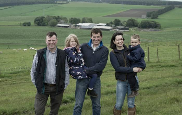 From left, event chairman Willy Millar, with host farmers, Robert and Hazel McNee and children, Kate and Alan