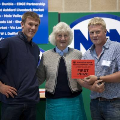 Fencing competition winners Tom and Mattie Phipps receiving their certificate from Lady Paice at NSA Youthful Shepherds Event 2013.