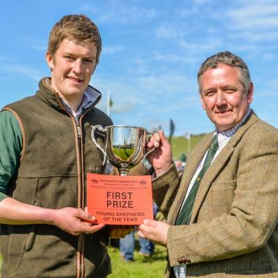 21-year-old Robert Walker from Brennand Farm near Clitheroe, won first prize in the Young Shepherd of the Year Competition at NSA North Sheep 2015 received £300 and the Ali Johnson Perpetual Trophy.