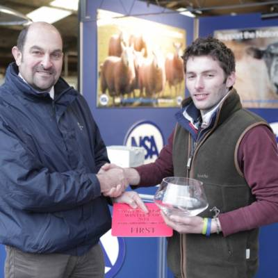 Winner of the Young Shepherds Competition 2014, Harry Lombardi, at NSA Eastern Region Winter Fair 2014.