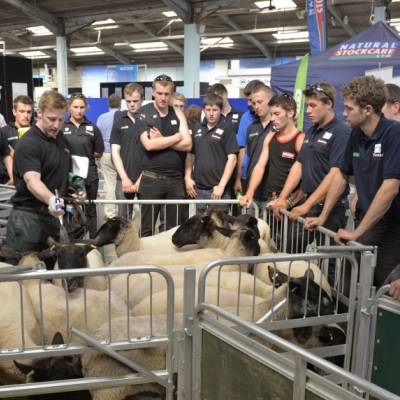 Product application demonstration with some young shepherds at NSA Sheep Event 2014.