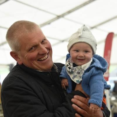 David Jones Ddol Farm, Llanbadarn Fynydd with his grandson - Noah attending his first tup sale
