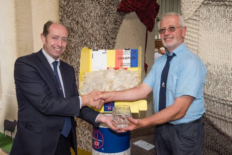 Fleece competition winner,  E. Owen (right) with BWMB Chairman Ian Bucannan