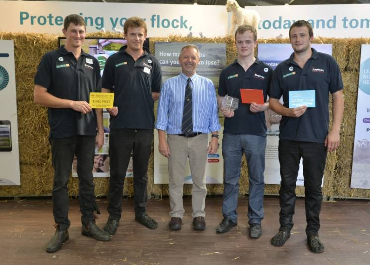 A run down of Young Shepherd of the year winners: 1st place Euan Orr (second right), runner up Sam Bullingham (right) and joint third place winners Richard Carter and Alistair Graham (left) with NSA Chief Executive Phil Stocker (centre) at NSA Sheep Event