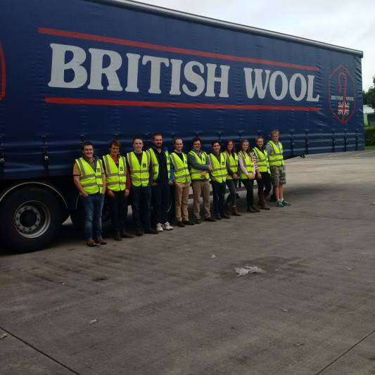 A tour of the BWMB's sorting and packing facilities at Wool House in Bradford with the NSA Next Generation Ambassadors.