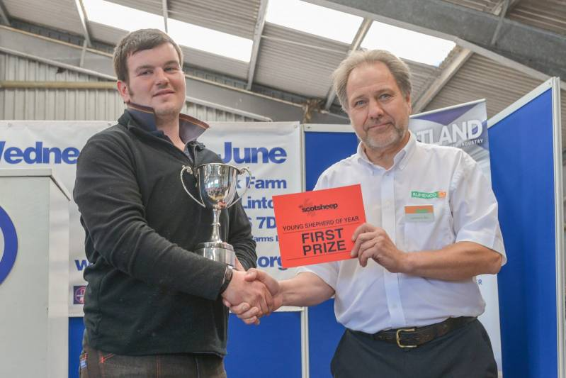 David McLean from Reston, Berwickshire winning the Young Shepherd of the Year competition at NSA Scot Sheep 2016.