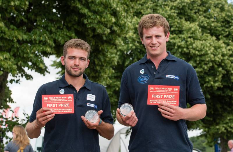 European Young Shepherd of the Year competition winners: English team Richard Carter (right) and Will Hinton