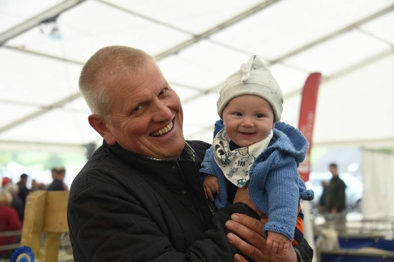 David Jones Ddol Farm, Llanbadarn Fynydd with his grandson - Noah attending his first tup sale