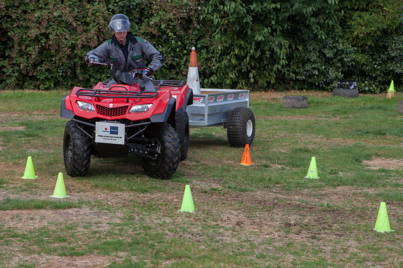 Competitors in the Young Shepherd of the Year competition being judged on their ATV handling skills