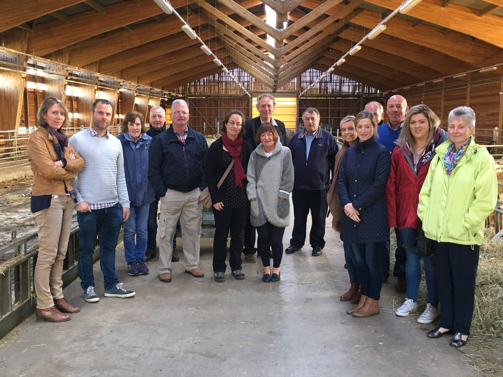NSA members in the sheep shed at an INRA Research Station