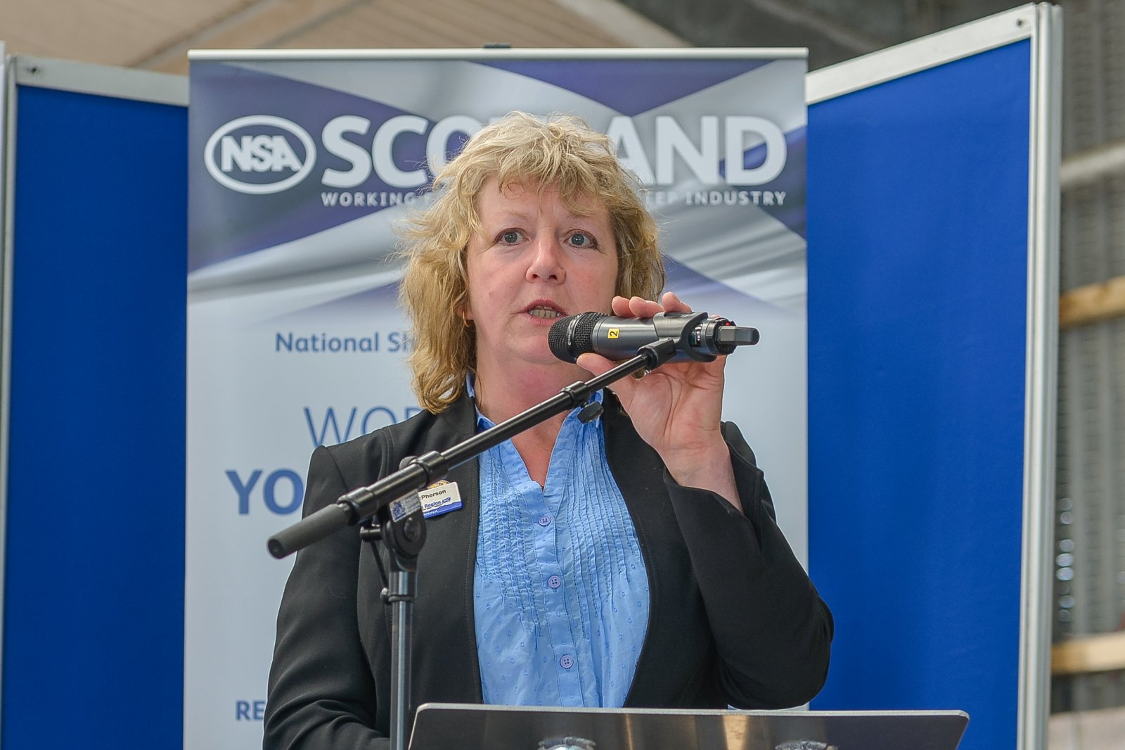Sybil Macpherson, NSA Scottish Region Chairman, welcomes visitors to NSA Scot Sheep 2016, held at Blythbank Farm, West Linton, Peeblesshire.