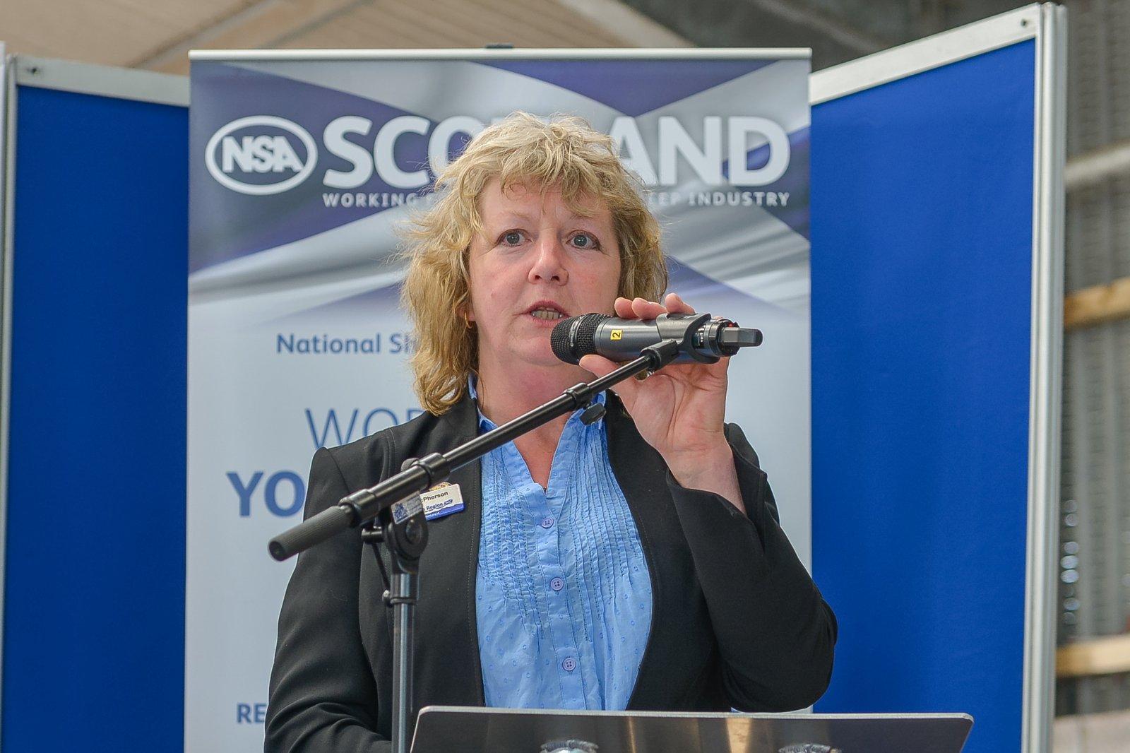 Sybil Macpherson, NSA Scottish Region Chairman, welcomes visitors to NSA Scot Sheep 2016, held at Blythbank Farm, West Linton, Peeblesshire.
