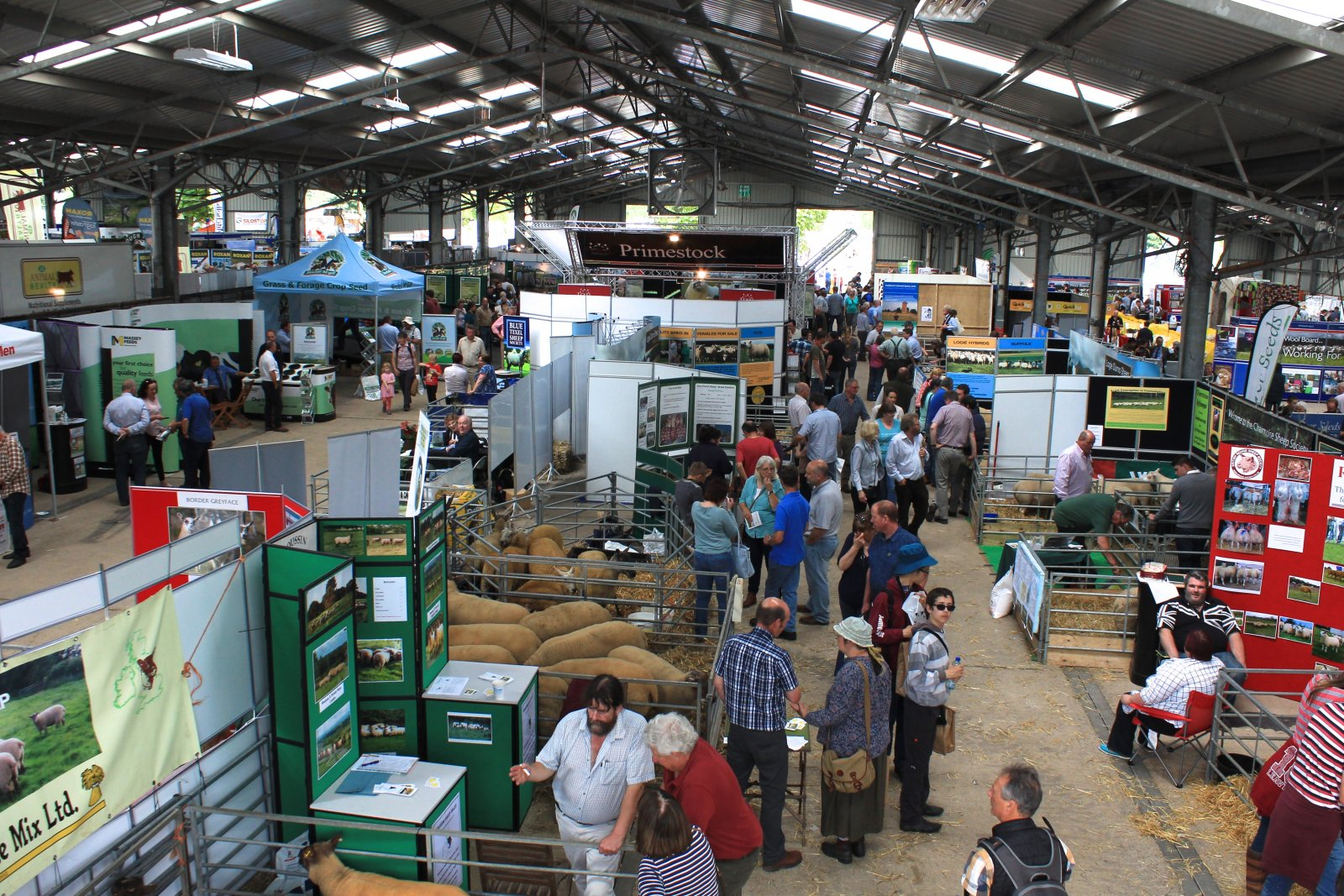 A busy indoor trade stand area at NSA Sheep 2016